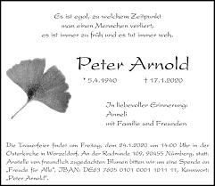 Traueranzeigen von Peter Arnold | trauer.nordbayern.de
