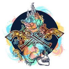 Fototapeta Lebka Zkřížené Zbraně Růže Barevné Tetování Lidské Lebky