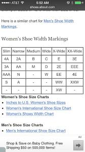 Shoe Width Chart Shoe Size Chart Size Chart Chart