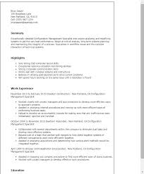 1 Configuration Management Specialist Resume Templates Try Them Now
