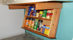 Under Cabinet Mount Spice Rack Drawer Easily Drops Down To Display