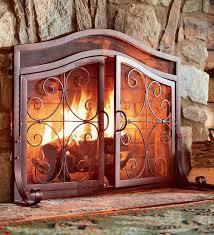 2 door tubular steel crest fire screens and tool sets