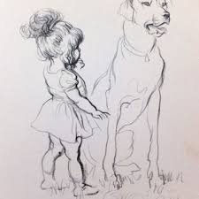 dogs drawings in pencil for kids. Plain For Print Of Dogs With Children 1930s Picture Bl And Drawings In Pencil For Kids