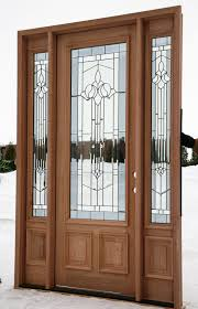 brown wooden front entry doors with double side lights having 3 4 concorde decorative glass and square panels