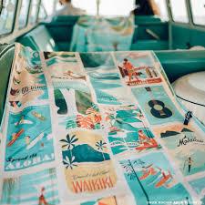 Beach towels Pink Surfer Towel Retro Hawaii Style Beach Towel Nick Kuchar Surfer Towel