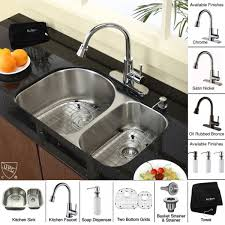 kraus kbu21 kpf2220 ksd30sn 30 inch undermount double bowl stainless steel kitchen sink with satin nickel faucet and soap disp