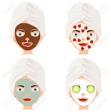 Face Mask Design Womens Face Mask Cosmetics For Face Flat Design Vector Illustration