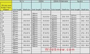 Mondo Ski Boot Size Chart Telemark Ski Boot Size Conversion Chart