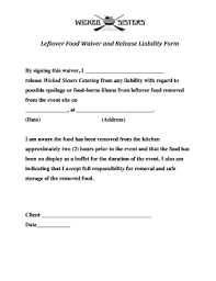waver form fillable online leftover food waiver and release liability form fax