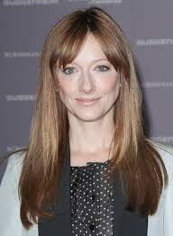 judy greer long straight layered chic red hairstyle with bangs