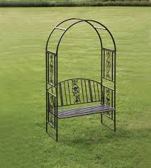 iron garden benches with rose design metal garden arch with bench seat garden arches