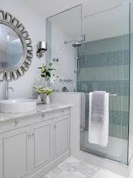 ... Elegant Granite Countertops On Minimalist White Colors Vanity Also  Round Mirror Bathroom Decoration Ideas ...