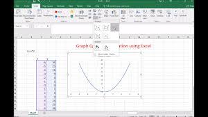 how to graph a quadratic equation using ms excel