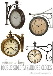 where to double sided farmhouse wall clocks clockwise from the top left