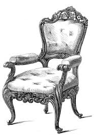 Vintage Clip Art  2 Fancy Chairs