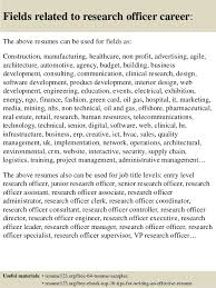 Research Resume Samples Top 8 Research Officer Resume Samples