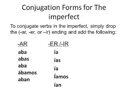 Imperfect Tense Verbs Regular Im Not Perfect Spanish