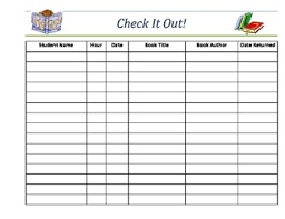 Check Out Sheet Classroom Library Book Check Out Sheet