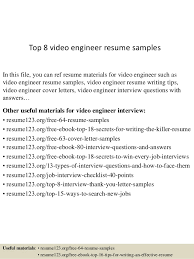Video Resumes Samples Top 8 Video Engineer Resume Samples