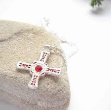 sea glass silver rustic cross of st cuthbert necklace a small