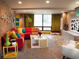 Family Room Decorating Pictures Splendid Family Room Decorating Ideas With Great Red Sofa Front