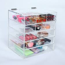 upper 6 partment 2 removable divider transpa cosmetic organizer case custom flip top acrylic storage 4 drawer for makeup
