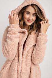 easel mauve faux fur hooded jacket front cropped image