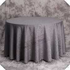 90inch round grey color jacquard printed flower tablecloth royal blue damask table cover for banquet and birthday party plastic table cloths linen table