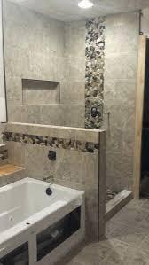 river rock shower floor pan detail by ceramic tile