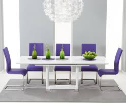 beckley 160 white extending dining table 6 malibu purple chair