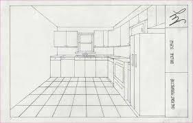 kitchen drawing perspective. Delighful Kitchen 2 Point Perspective Drawing Of A Kitchen With K
