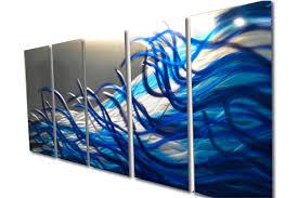 blue metal wall art