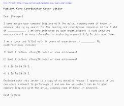 Care Coordinator Cover Letter Patient Care Coordinator Cover Letter Job Application Letter