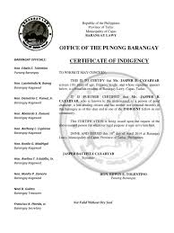 Certificate Of Indigency Philippines Politics