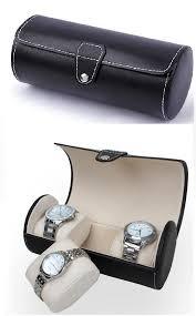 premium pu leather watch display storage box case