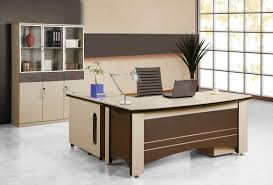 Furniture:Cool Office Desk Solution With Unique Enticing Cream And Brown  Wood L Shaped Office