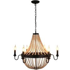 candle chandelier black unitary brand antique black metal and wood beads decoration wheel candle chandelier candle