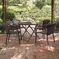 patio dining: crosley furniture palm harbor  piece dark brown wicker patio dining set