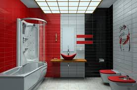 Bathroom Shower Tile Ideas  Material, Color and Pattern  Red, white and  black tiles bathroom ideas