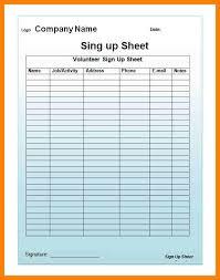 volunteer sign up sheet templates email sign up sheet template template business