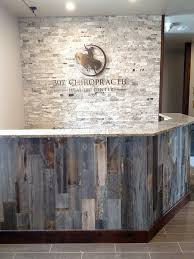 business office ideas. office front desk using stikwooddesign reclaimed peel and stick wood business ideas