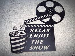 custom made home theater decor clapboard and popcorn relax enjoy the show metal wall art