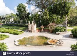 gardens of villa vizcaya in coconut grove in miami florida usa