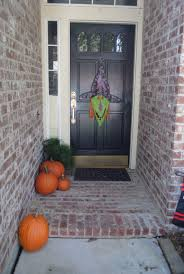 ... Good Looking Idea For Halloween Door Decoration Idea : Heavenly Front  Porch Decoration Using Aged Light ...