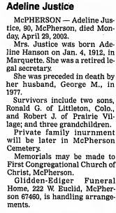 Obituary for Adeline Justice, 1912-2002 (Aged 90) - Newspapers.com