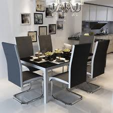 faux leather dining chairs ebay. dinning chairs faux leather chair w/ chrome leg furniture black/white /grey uk dining ebay