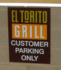 el torito grill parking sign