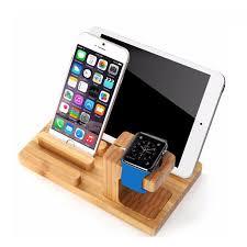 desktop mobile phone holder suporte para ipad tablet suporte de madeira real de bambu relógio de
