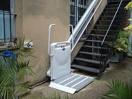 exterior stair chair lift. Modren Lift Inclined Stair Lift  Unfolded Platform Niche Lifts On Exterior Chair A
