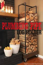 This amazing plumbing pipe firewood holder DIY project is an excellent way  to